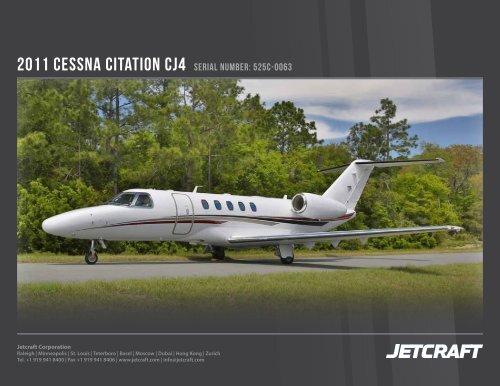 2011 Cessna Citation Cj4 Serial Number 525c 0063 Business