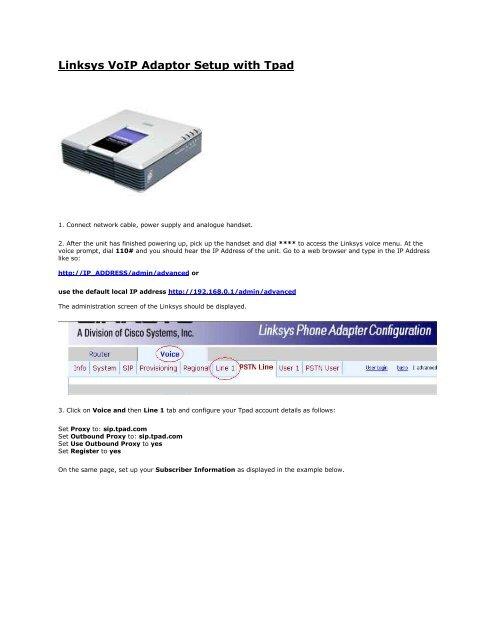 Linksys VoIP Adaptor Setup with Tpad