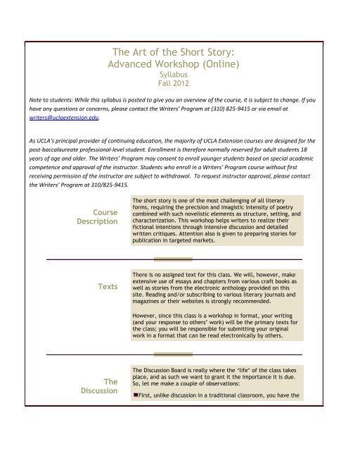 The Art of the Short Story: Advanced Workshop     - UCLA