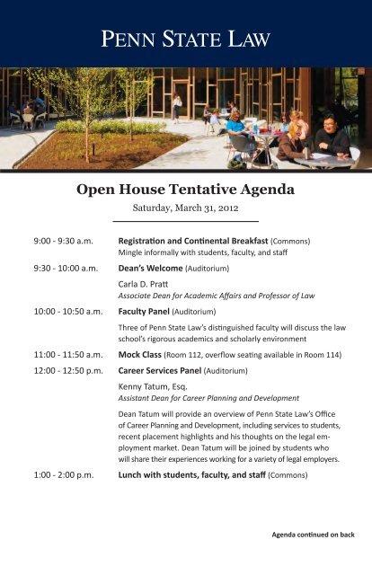 Open House Tentative Agenda - Penn State Law