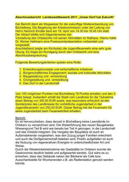 """Abschlussbericht Landeswettbewerb 2011 """"Unser Dorf hat Zukunft ..."""