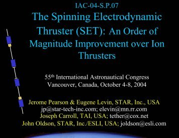 The Electrodynamic Thruster: An Order of Magnitude