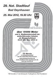 29. Nat. Stadtlauf Bad Oeynhausen 25. Mai 2012, 19.30 Uhr