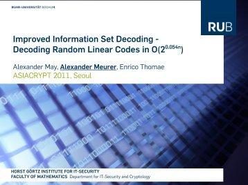 Improved Information Set Decoding - Decoding Random Linear ...