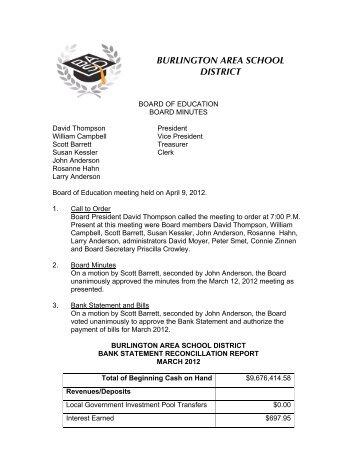 Board Minutes 4 9 2012 - Burlington Area School District