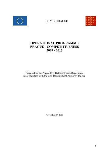 OPERATIONAL PROGRAMME PRAGUE ... - Fondy EU v Praze