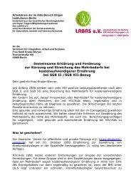 Gemeinsame Erklärung und Forderung zur Kürzung und Streichung ...