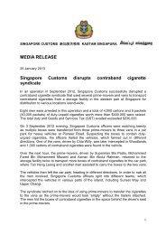 MEDIA RELEASE Singapore Customs disrupts contraband cigarette ...