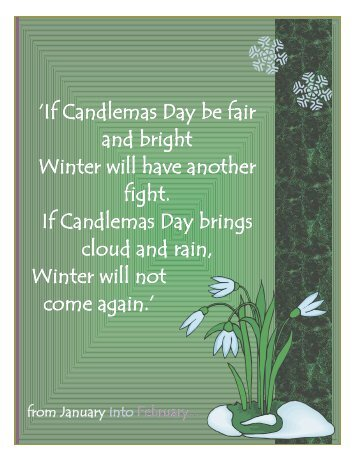 'If Candlemas Day be fair and bright Winter will ... - St. Colette Church