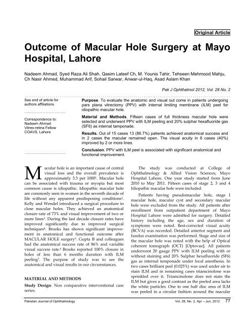Outcome of Macular Hole Surgery at Mayo Hospital, Lahore