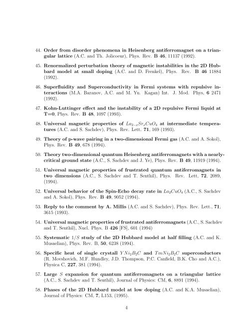 LIST OF PUBLICATIONS Andrey V. Chubukov Department of ...