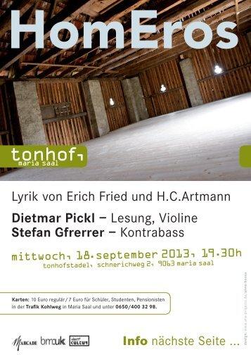 Lesung, Violine Stefan Gfrerrer – Kontrabass - tonhof