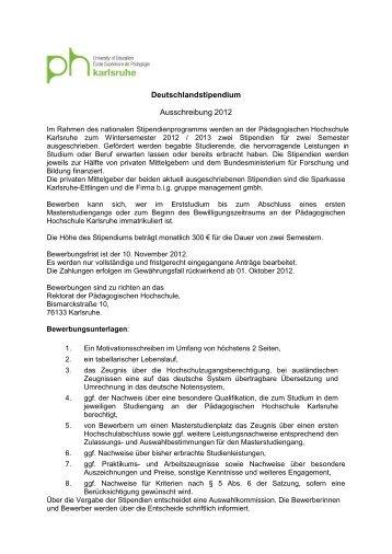 deutschlandstipendium ausschreibung 2012 pdagogische - Bewerbung Deutschlandstipendium