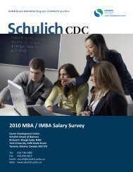 2010 MBA / IMBA Salary Survey - Schulich School of Business ...
