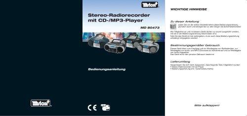 Stereo-Radiorecorder mit Cd-/Mp3-Player - Medion