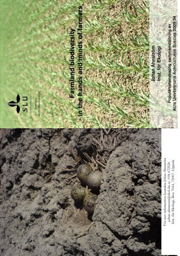 Farmland biodiversity - in the hands and minds of farmers - SLU