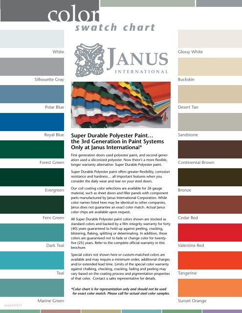 Door Color Chart Cannon Storage Systems Inc