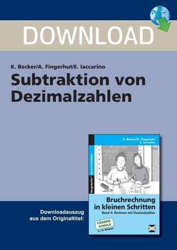 Subtraktion von Dezimalzahlen 1 - Persen Verlag