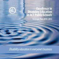 Excellence in Disability Education in ACT Public Schools - Strategic ...