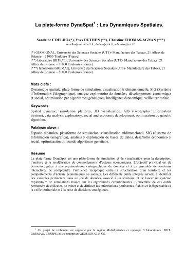 La plate-forme DynaSpat : Les Dynamiques Spatiales. - IRIT