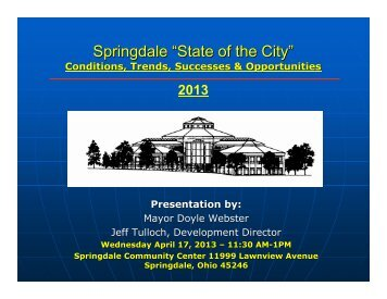 State of the City 2013 - City of Springdale, Ohio