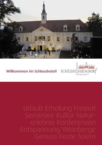 Folder Schloßhotel Haindorf - Landesinnung Bau