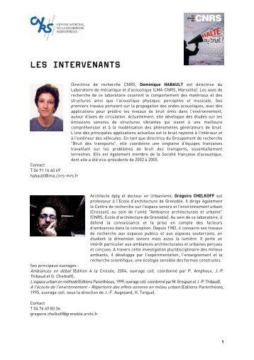 Biographies des intervenants - CNRS