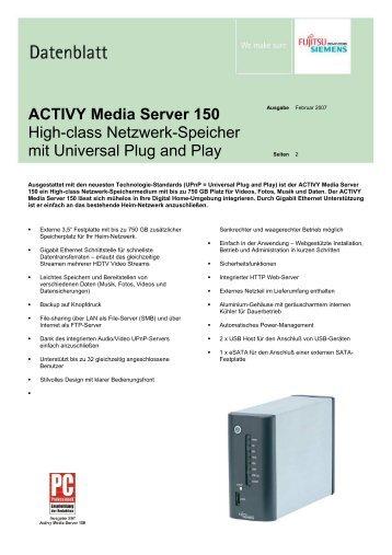 ACTIVY Media Server 150 High-class Netzwerk-Speicher ... - Snogard