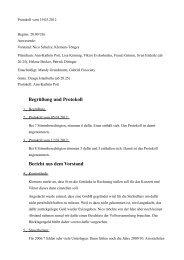 Begrüßung und Protokoll Bericht aus dem Vorstand