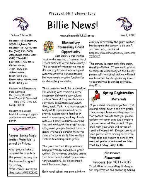 Billie News! - Pleasant Hill School District #1