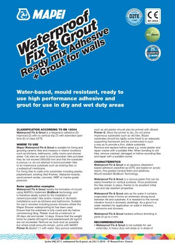 Water-based, mould resistant, ready to use high - Mapei