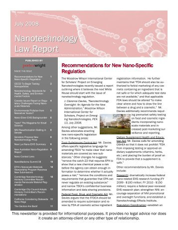 Nanotechnology Law Report (July 2008)