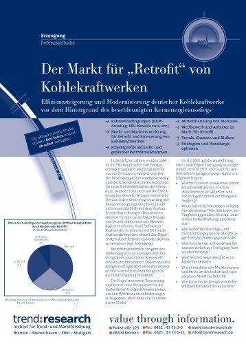 """Der Markt für """"Retrofit"""" von Kohlekraftwerken - trend:research"""