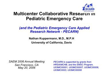 Multicenter Collaborative Research in Pediatric Emergency Care