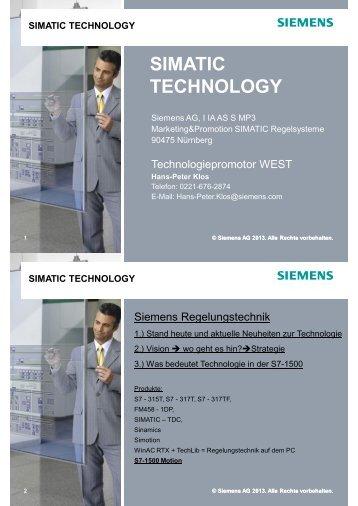 SIMATIC TECHNOLOGY SIMATIC TECHNOLOGY - Siemens AG