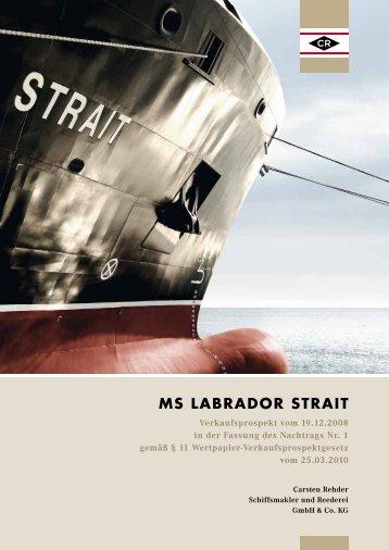 MS LABRADOR STRAIT - Geschlossene Fonds