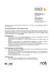 Stellenausschreibung Digitale Medien - Universität Klagenfurt