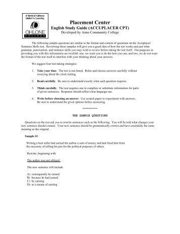 Sentence Skills Study Guide (PDF) - Ohlone College