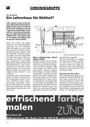 Ein Lehrerhaus für Rütihof? CHRONIKGRUPPE