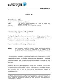 Annen avdeling PROTOKOLL Annen avdelings ... - Patentstyret