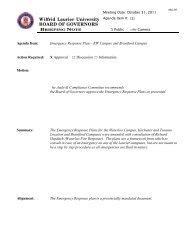 Emergency Response Plan - Wilfrid Laurier University