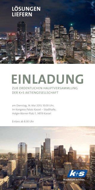 Einladung mit Tagesordnung - K+S Aktiengesellschaft