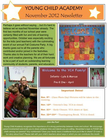 YOUNG CHILD ACADEMY November 2012 Newsletter