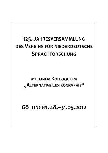 GÖTTINGEN,28.–31.05.2012 - Institut für niederdeutsche Sprache e.V.