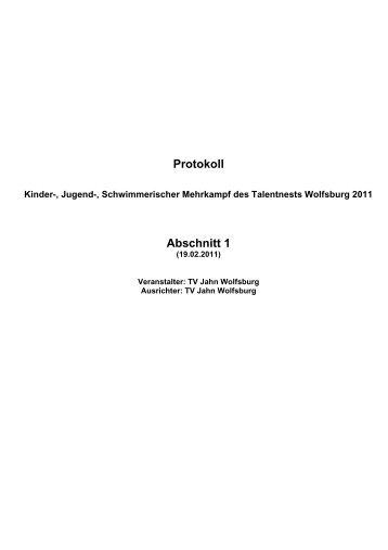Protokoll - TV Jahn Wolfsburg Schwimmen