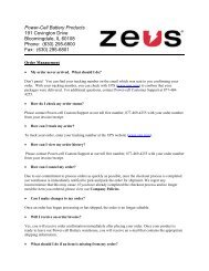 Power-Cell Battery Products 191 Covington Drive ... - ZEUS Battery
