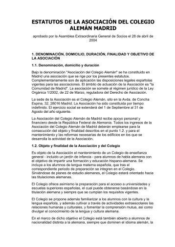 ESTATUTOS DE LA ASOCIACIÓN DEL COLEGIO ALEMÁN MADRID