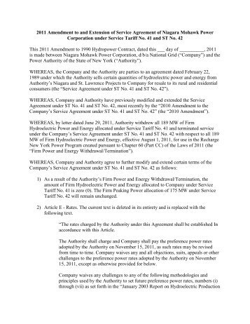 2011 Amendment to and Extension of Service Agreement of Niagara ...