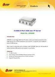 4-USB2.0 Port USB over IP Server - Pilotech
