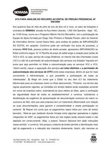 ATA PARA ANÁLISE DO RECURSO AO EDITAL DE ... - SEMASA